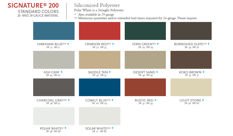 roof top screen colors selection chart